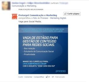 Vagas Patrocinadas no Facebook